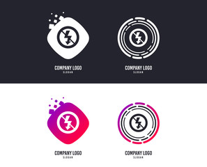 Logotype concept. No Photo flash sign icon. Lightning symbol. Logo design. Colorful buttons with icons. Vector