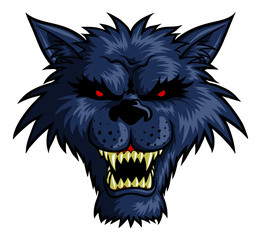 Vector illustration of a wild wolf head for t-shirt print or logo usage.