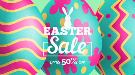 easter sale banner design with decorated 3d eggs background