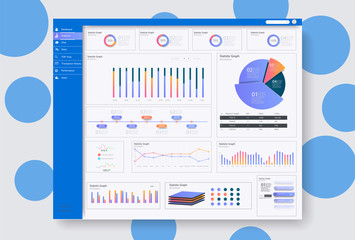Dashboard user admin panel template design . Infographic dashboard template with flat design graphs and charts.Vector UX