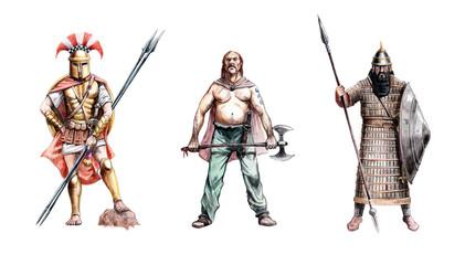 Ancient warriors. Greek Hoplite, Assyrian and Frankish warrior. Historical illustration.