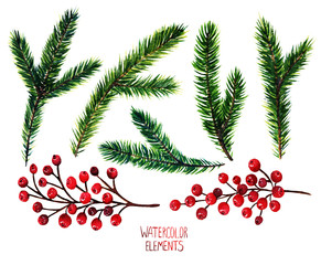 Watercolor illustration. Different elements for Christmas design, fir branches, red berries