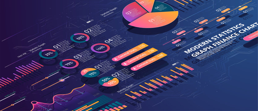 Set of colorful infographic vector elements: presentation graphics, statistics of data and diagrams. 3d isometric design. Infographics, brochures vector templates for business reports.