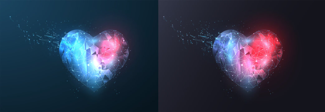 Abstract polygonal heart. Valentine's day. Consists of points, lines, in the form of a starry sky. Vector