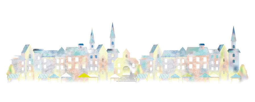 水彩画風の町並み