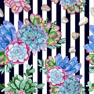 Watercolor handpainted seamless pattern of succulent plant