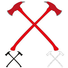 Set of crossed firefighter ax icon. Crossed axes silhouette. Vector illustration.