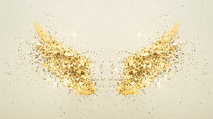 Golden glitter on abstract watercolor wings in vintage nostalgic colors.