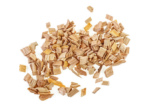 Pile of wood smoking chips isolated on white background, top view.