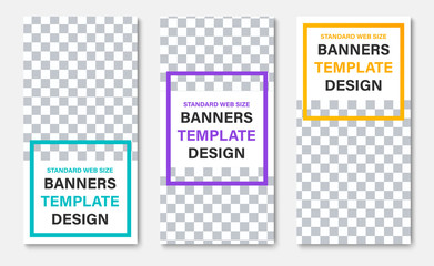 Template of white vertical web banners with place for photo and color frames for headline.