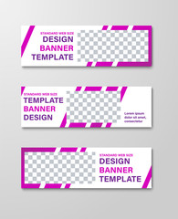 Design of horizontal white web banners with diagonal purple lines and a rectangle for a photo.