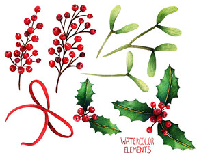 Watercolor illustration. Different elements for Christmas design,Red ribbon,mistletoe,red berries