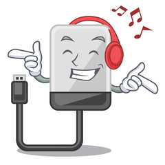 Listening music hard drive isolated on the characters