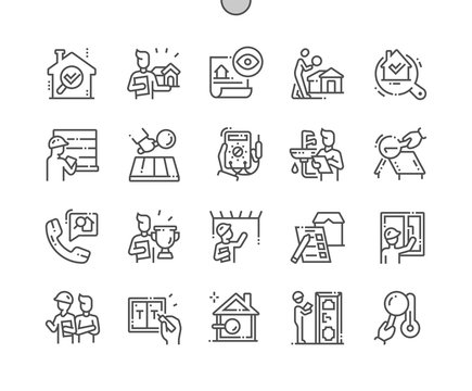 Home inspections Well-crafted Pixel Perfect Vector Thin Line Icons 30 2x Grid for Web Graphics and Apps. Simple Minimal Pictogram