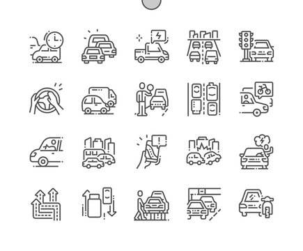 Traffic jams Well-crafted Pixel Perfect Vector Thin Line Icons 30 2x Grid for Web Graphics and Apps. Simple Minimal Pictogram