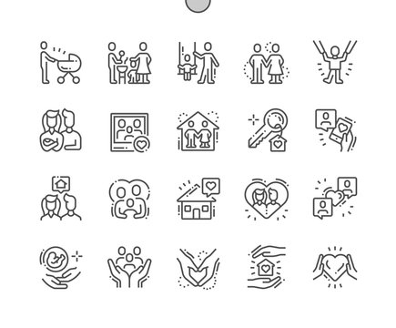 Family Well-crafted Pixel Perfect Vector Thin Line Icons 30 2x Grid for Web Graphics and Apps. Simple Minimal Pictogram