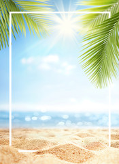 Summer background with frame, nature of tropical golden beach with rays of sun light and leaf palm....