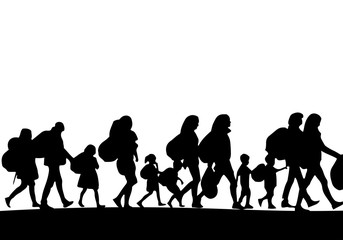 Silhouette of a group of refugees - Vector