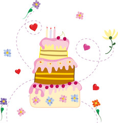tortDrawing birthday cake with pink icing on a white background
