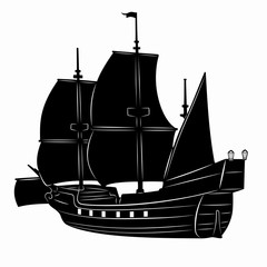illustration of a historic ship, vector drawing