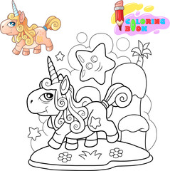 little cartoon cute pony unicorn, coloring book, funny illustration