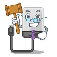 Judge cartoon hard drive in the bag