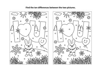 Valentine's Day find the ten differences picture puzzle and coloring page with I Love You message and cute little bunny