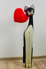 Walentynki, kot i czerwone serce
