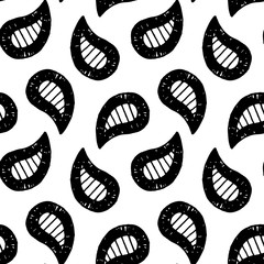 Abstract paisley pattern with hand drawn buta. Cute vector black and white paisley pattern. Seamless monochrome paisley pattern for fabric, wallpapers, wrapping paper, cards and web backgrounds.