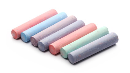 Colorful chalks isolated on white background
