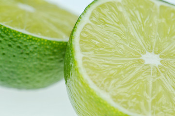 macro of two fresh lime