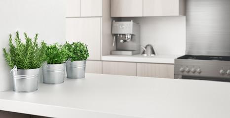 Empty kitchen top, coocking, 3d rendering