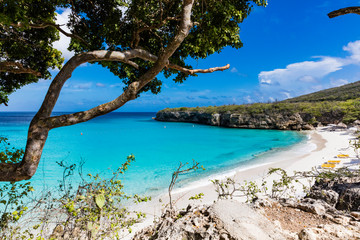 The pristine Grote Knip beach on the tropical Island of Curacao