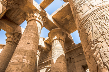 Pillars at the temple of Kom Ombo, decorated with hieroglyphics
