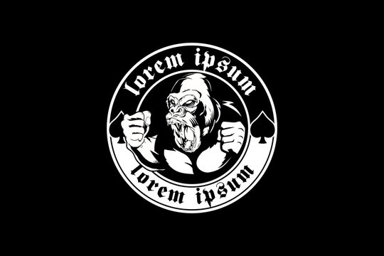 angry gorilla black and white vector logo round template