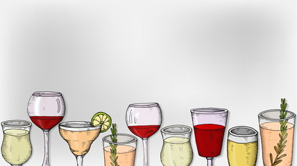 Vector Illustration with wine, beer and cocktail glasses sketch style