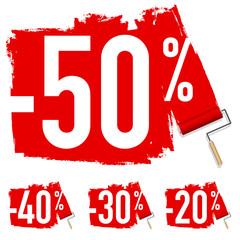 Concept des promotions et du pouvoir d'achat, avec une étiquette de réduction de 50% sur le prix de produits de consommation