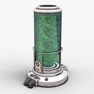 3d illustration of sci fi plant incubator concept