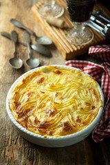 Homemade fish pie with mashed potato