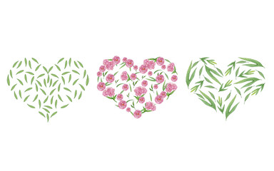 watercolor hand-drawn leaves in the shape of a heart. Great for Ecology, nature protection
