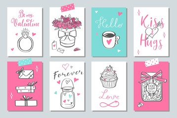Happy Valentines day vector doodle set, banners, posters, tags, labels, background.