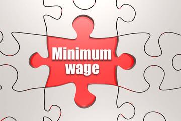 Minimum wage word on jigsaw puzzle