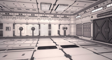 3d illustration sci fi laboratory on mars planet