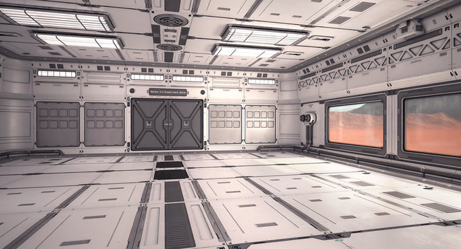 3d illustration sci fi laboratory on mars planet