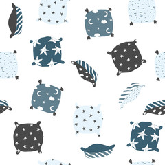 Seamless pattern with hand drawn pillows. Cute textile print. Vector illustration.