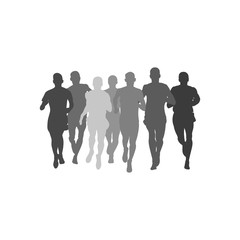 silhouette group men athletes runners run together