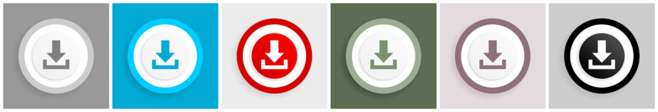 Download icon set, vector illustrations in 6 options for web design and mobile applications