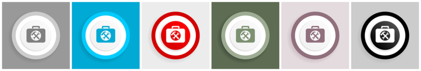 Toolkit icon set, vector illustrations in 6 options for web design and mobile applications