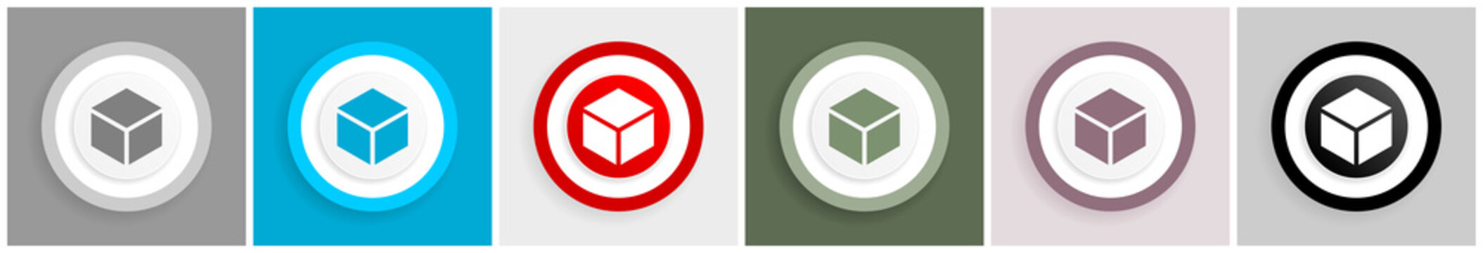 Box icon set, vector illustrations in 6 options for web design and mobile applications