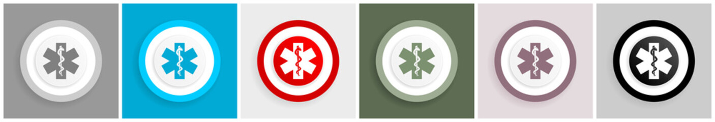 Emergency icon set, vector illustrations in 6 options for web design and mobile applications